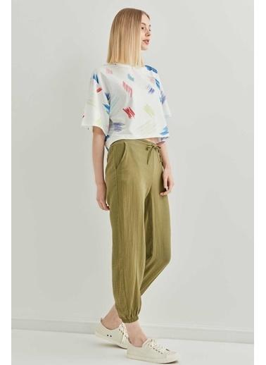 Vitrin Keten Kumaş Paça Lastik Rahat Pantolon Yeşil